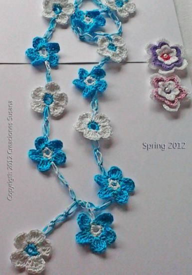 Floral Necklace Crocheted Handmade Lariat Crochet