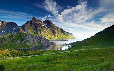 Scarica sfondi montagne, strada, rocce, mare, campi verdi, bay, campo verde