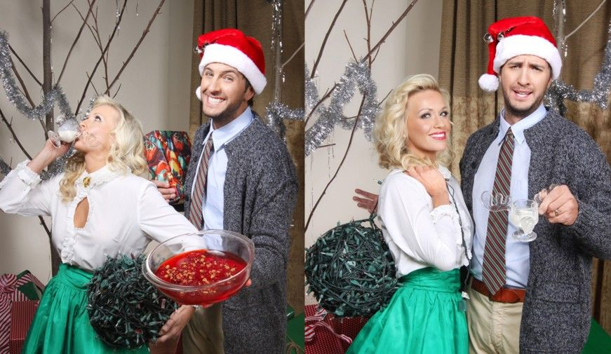 Luke and caroline bryan channel their favorite christmas couple in holiday card
