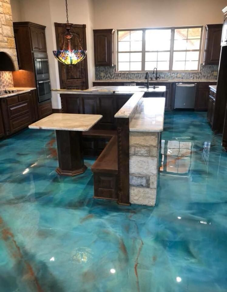 Custom Blue Contemporary Metallic Epoxy Floors Call Us Today For