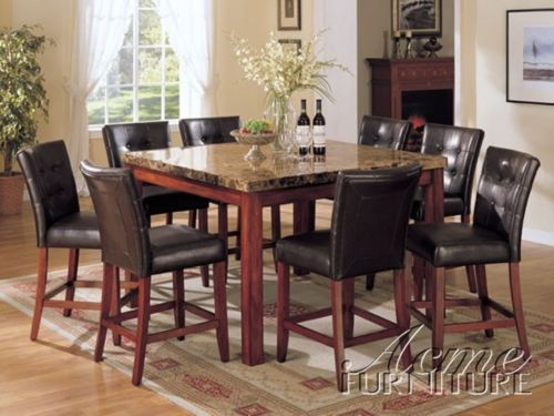 9 Piece New Counter Height Marble Top Dining Table W 8 Chairs