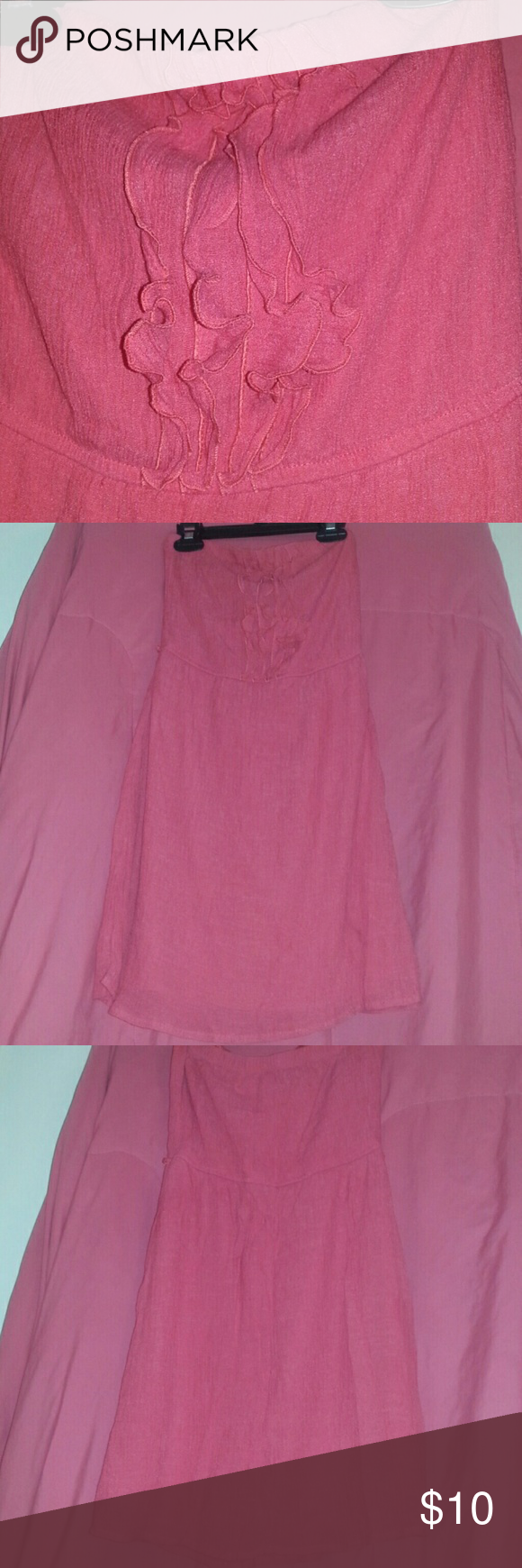 Strapless pink dress Strapless pink dress, runs small, never been used just hand washed, does not need a slip, no issues with the dress accidentally in love Dresses Strapless