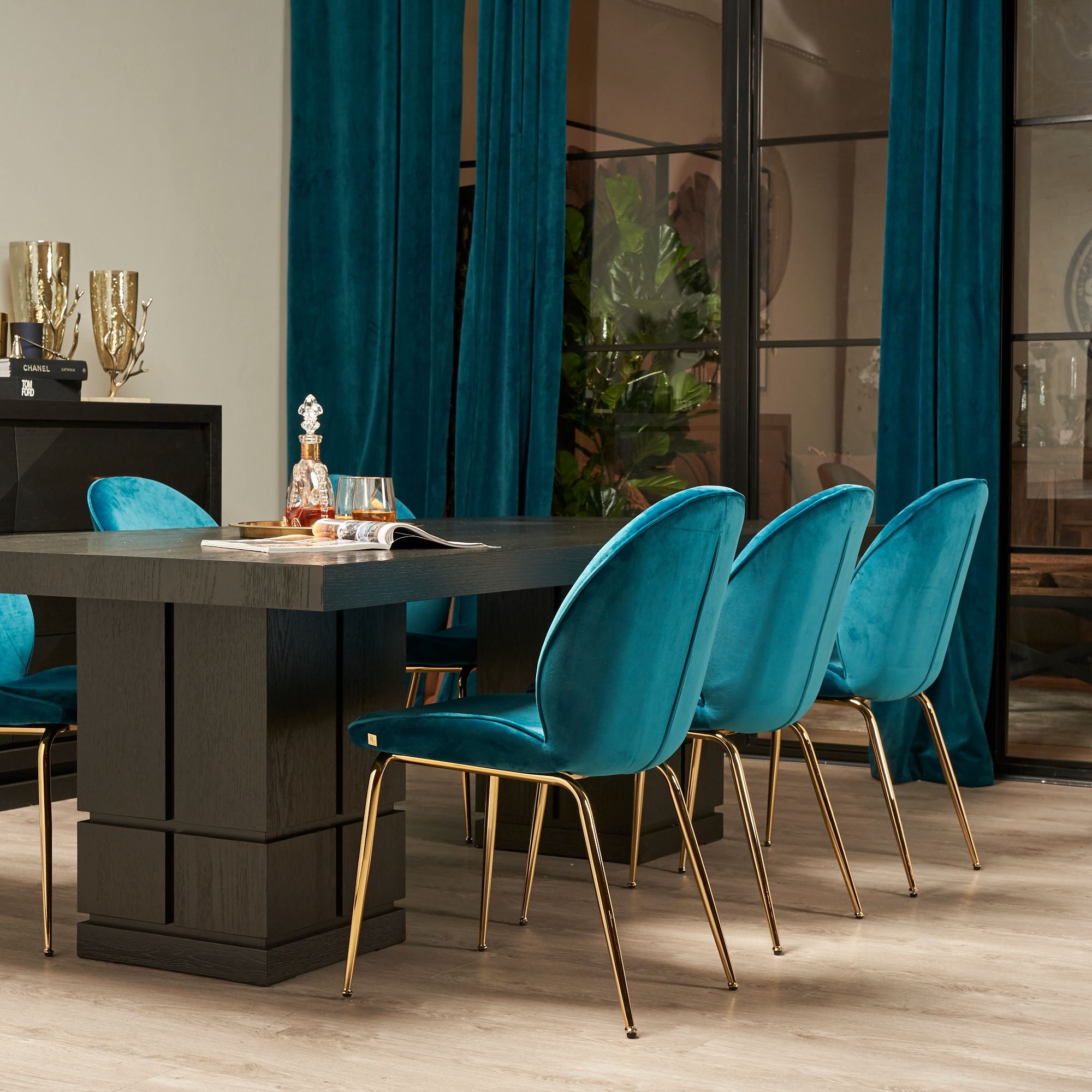 Abbey Chair - Peacock Blue NEW GOLD LEG | Blue dining ...