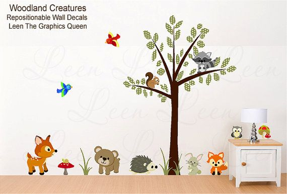 Animal Tree Wall Decals Woodland Creatures Reusable Wall Decals