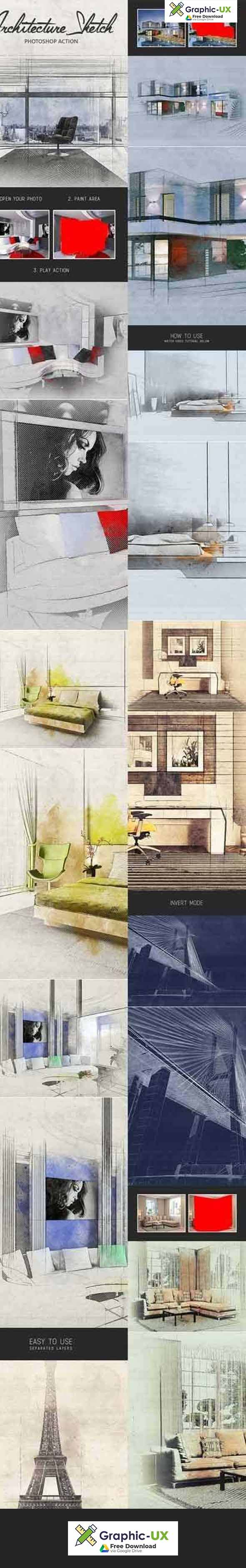 Architecture Sketch Photoshop Action Free Graphicux Free