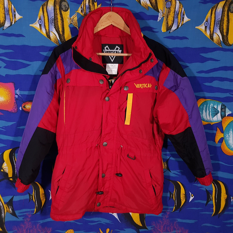 Vintage 80s Ski Jacket Size Small Colour Block Puffer