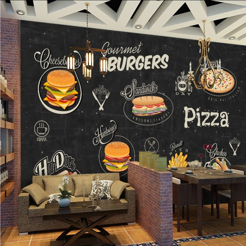 Hand Painted Hamburger Pizza Shop Background Painting Living Room Wallpaper Mural Home Decoration Hamburg Wallpaper Living Room Custom Murals Wallpaper Stores