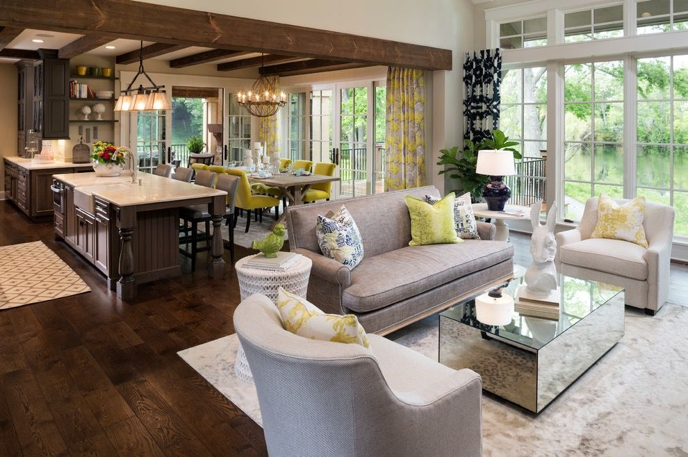 Living Room Combo With Kitchen And Dining Room With Modern And Traditional S Transitional Living Room Design Open Concept Living Room Transitional Living Rooms