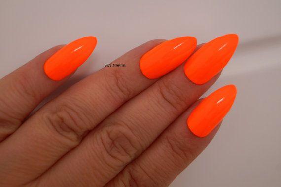 Neon Orange Stiletto Nails Nail Designs Nail Art Nails Stiletto Nails Acrylic Nails Pointy Nails Fak Neon Orange Nails Orange Acrylic Nails Pointy Nails