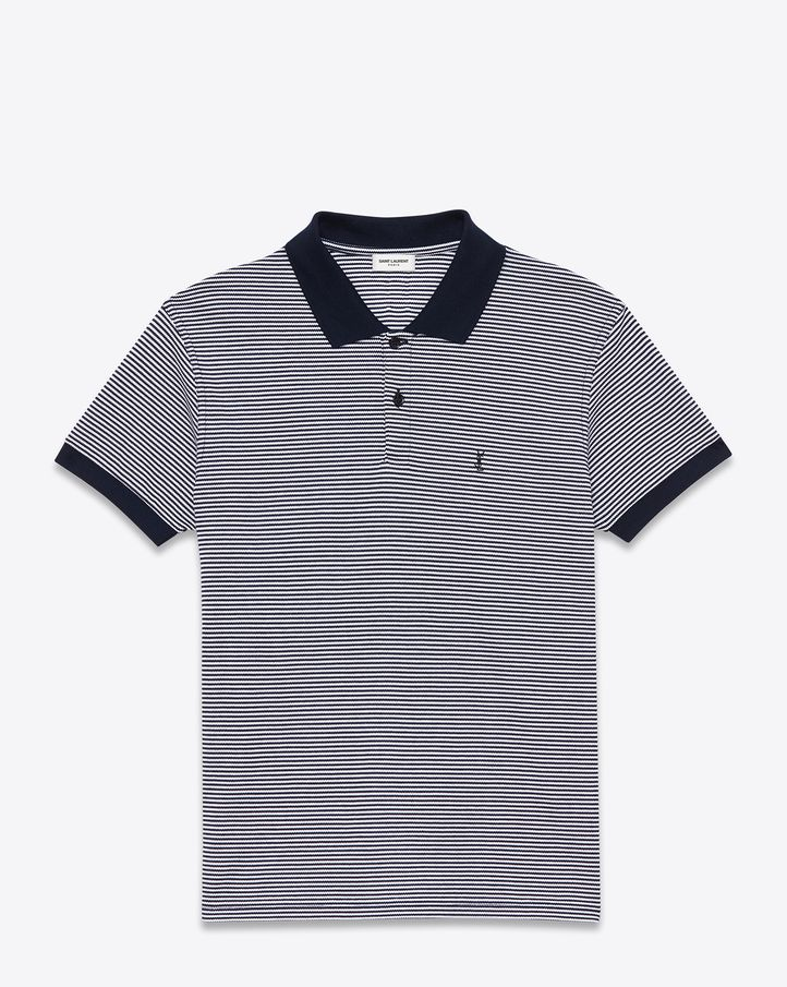 Saint Laurent CLASSIC POLO SHIRT IN Navy Blue AND WHITE Micro Striped PIQUÉ  COTTON - ysl