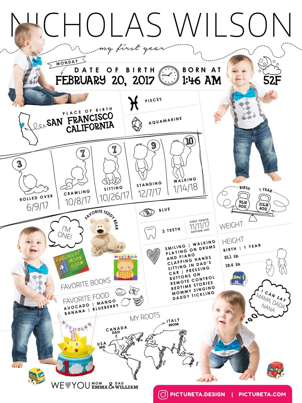 Baby Infographic Photoshop Templates Baby Infographic Template Baby S First Year Psd Templates Pho Baby Infographic Birthday Poster First Birthday Posters