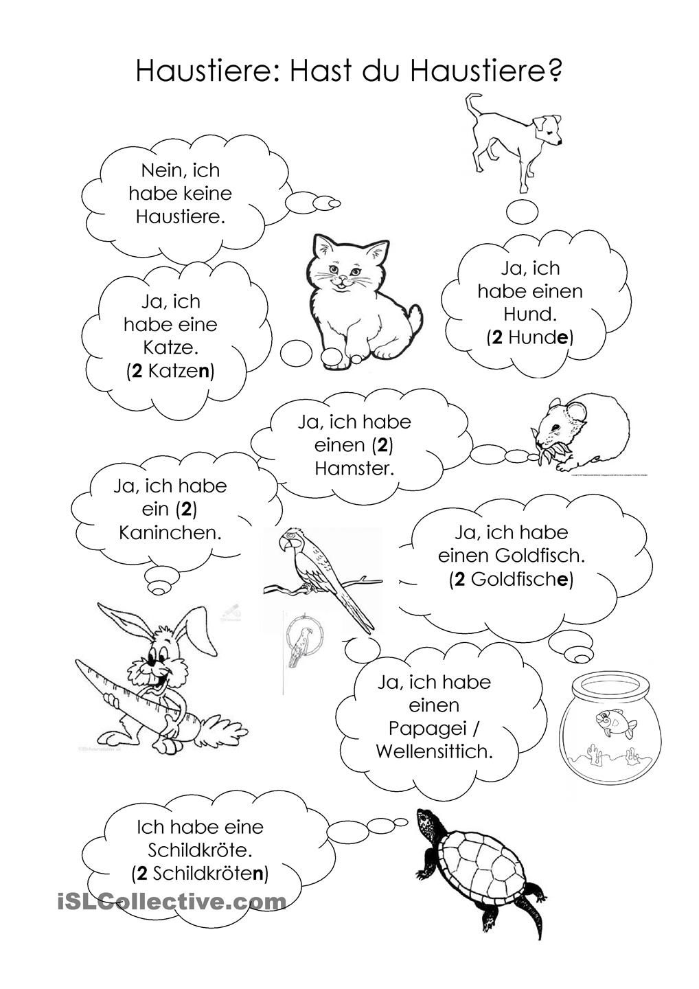 Haustiere Deutsch and Worksheets