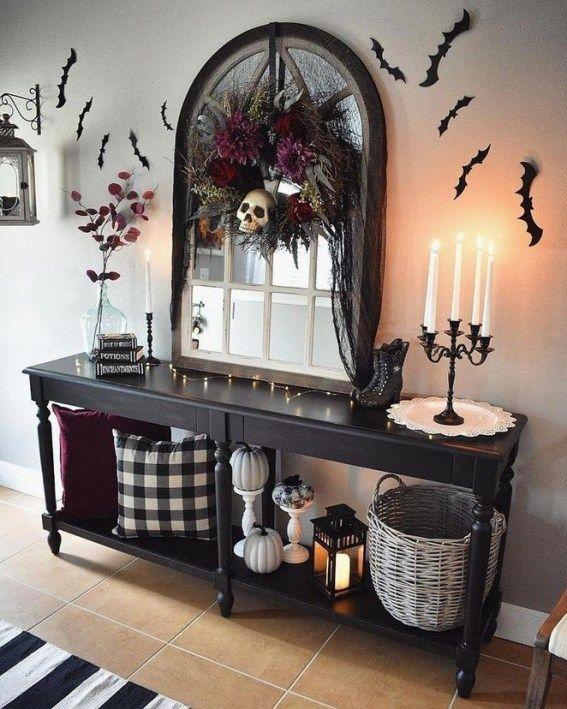 40 Gorgeous Halloween Living Room Decor Ideas 68 Halloween Living Room Halloween Home Decor Halloween Entry Table