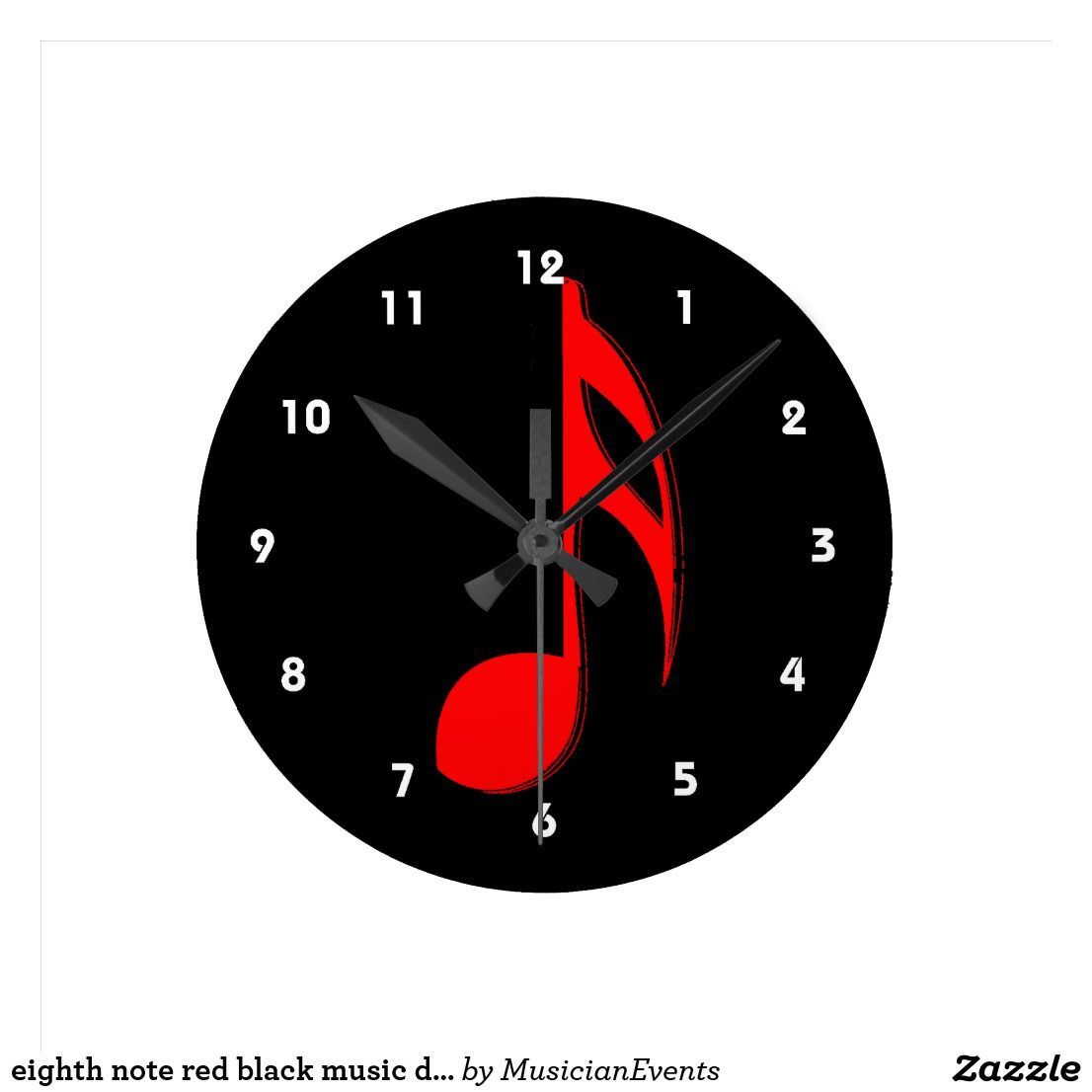 Eighth Note Red Black Music Design Png Round Clock Zazzle Com Black Music Black And Red Clock