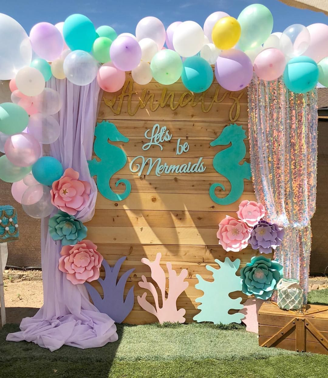 Let S Be Mermaids Check Out My Profile For More Pictures Of My Work Mermaid Birthday Party Decorations Mermaid Party Decorations Ariel Birthday Party