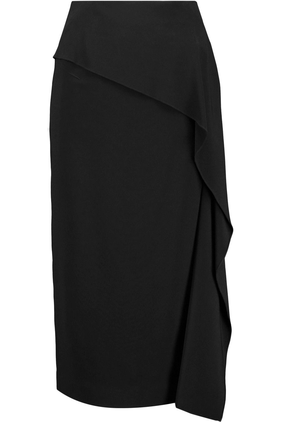 ROLAND MOURET Clarendon ruffle-trimmed stretch-crepe midi skirt. #rolandmouret #cloth #skirt
