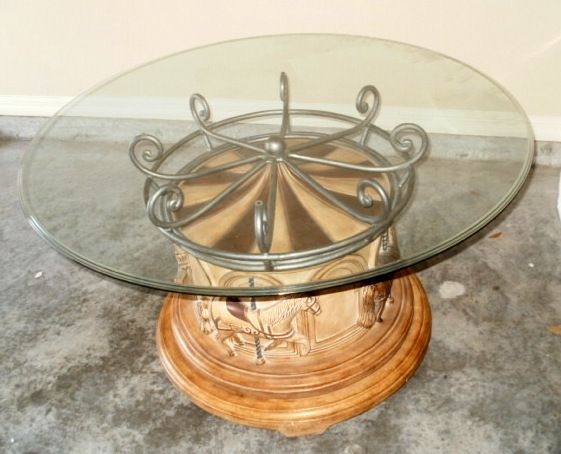 4 Horse Carousel Pedestal Cocktail Table , drum style base.   Coin ...