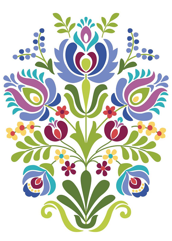 Hungarian Folk Art Blue and Purple Flowers | Bayerische, Stickmuster ...