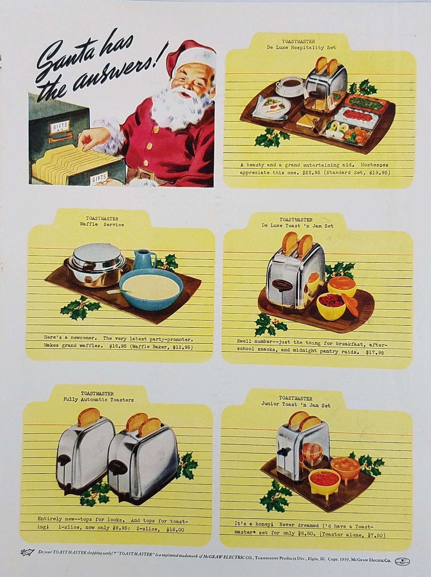 1939 Toastmaster Toasters Vintage Ad Santa Has The Answers
