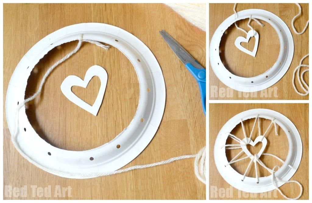 Paper Plate Crafts - Dream Catchers with Hearts - Red Ted Artu0027s Blog  Red Ted Artu0027s Blog & Paper Plate Crafts - Dream Catchers with Hearts | Paper plate crafts ...