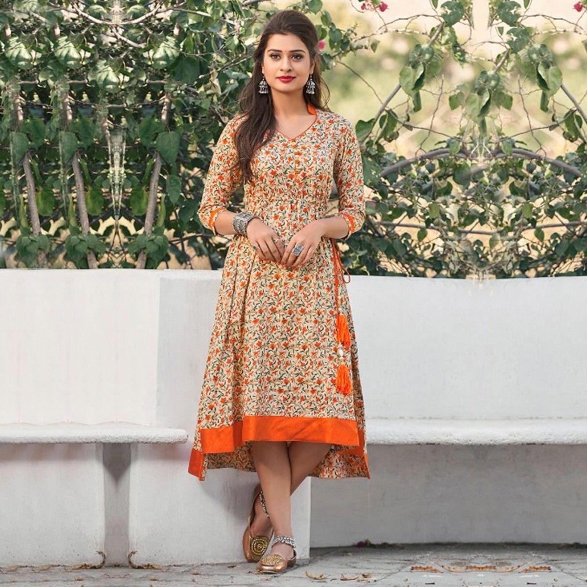 Buy Cream - Orange Printed Cotton Kurti for womens online India ...