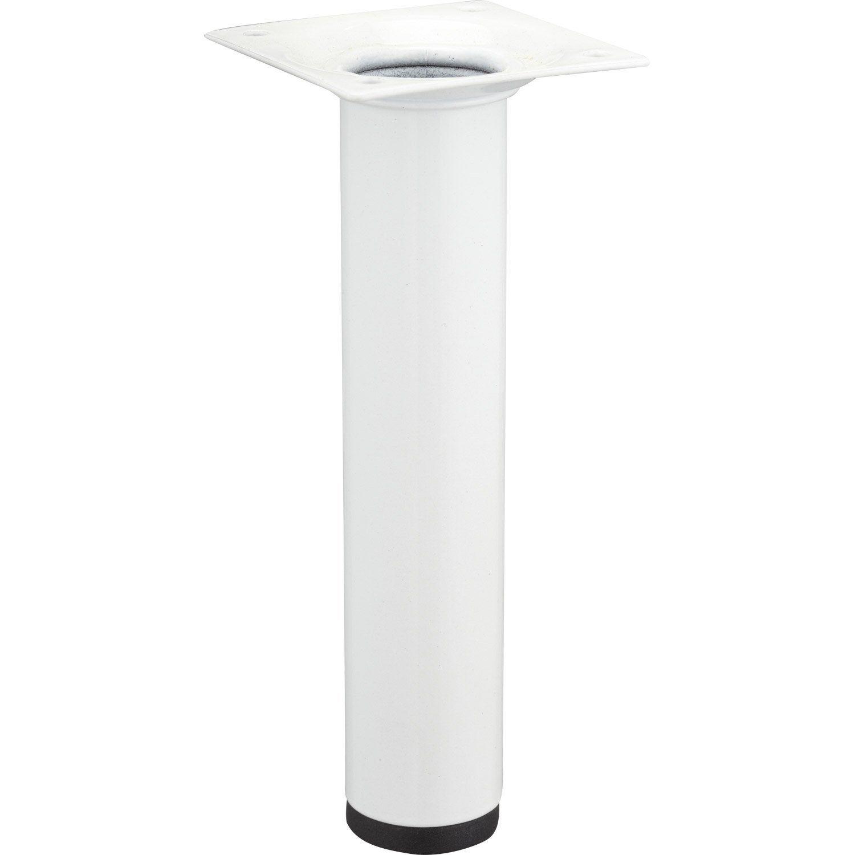 Pied De Meuble Cylindrique Fixe Acier Epoxy Blanc 15 Cm Hettich Pied Meuble Meuble Et Acier