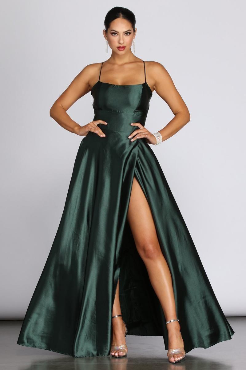 Anne formal lattice satin dress green formal dresses