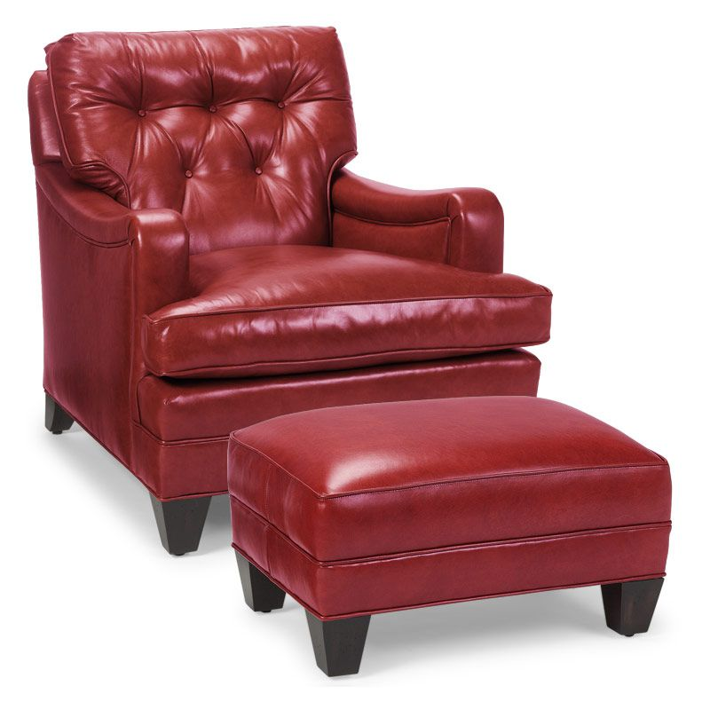 Red Leather Chair And Ottoman Comfortable Kitchen Chairs Classic Club Levenger