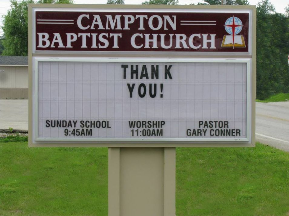 Changeable Copy / Letter Board Church Sign, Campton Baptist Church