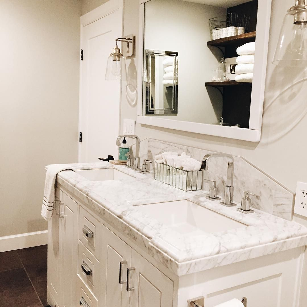A View Of This Custom Built Vanity For A Marble Top Found On Craigslist What A Find White Bathroom Black Floors C Black Bathroom Marble Vanity Black Floor