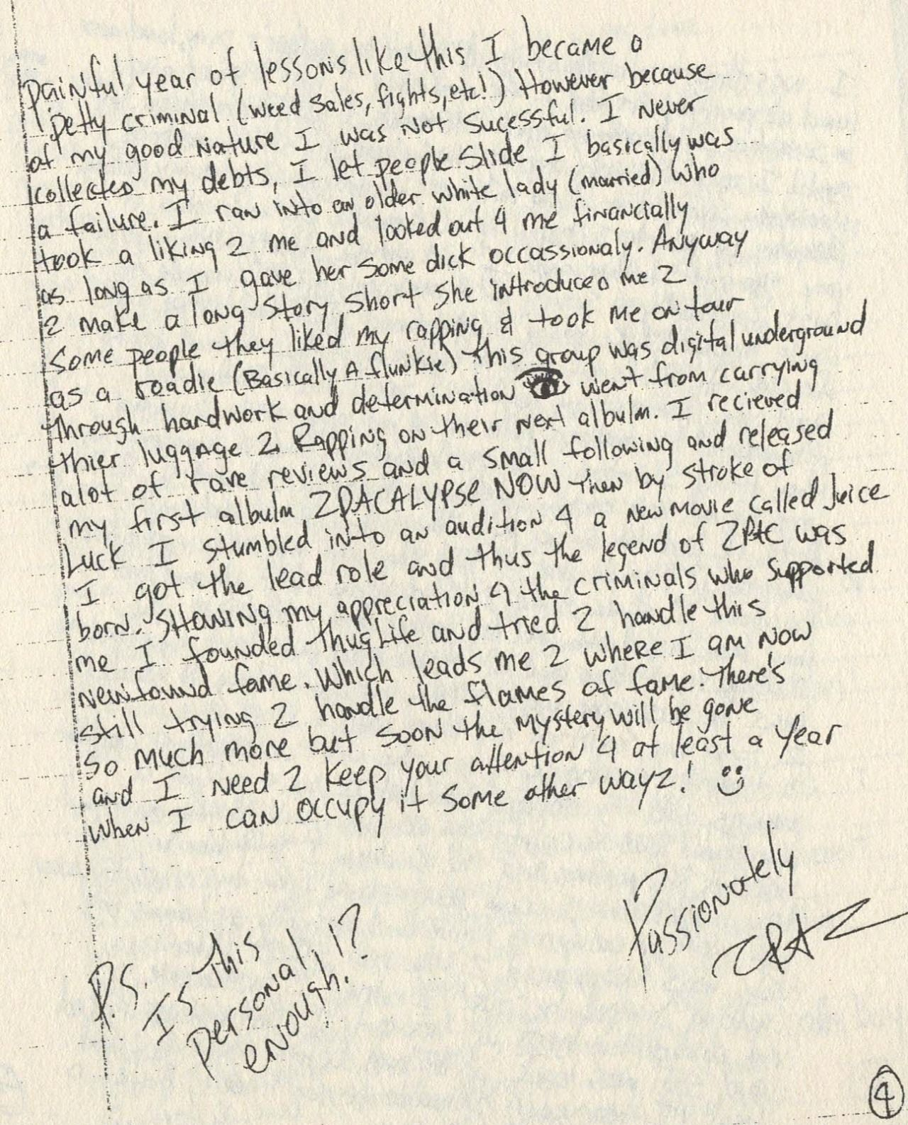 """makaveli immortalized: """" A personal handwritten letter from Tupac"""