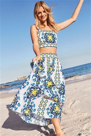 8bbb24e11f Buy Blue White Tile Print Maxi Skirt from the Next UK online shop ...