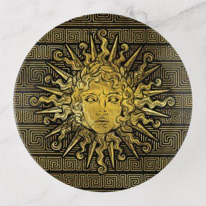 Apollo Sun Symbol On Greek Key Pattern Trinket Trays Classic Gifts