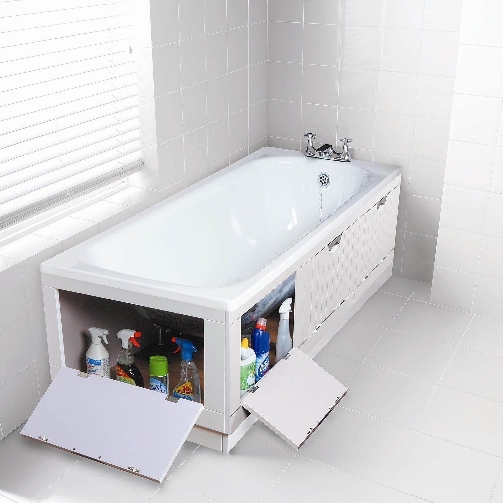 WHITE TIDYAWAY STORAGE BATH PANEL 1700MM FRONT 700mm END & SEAT ...