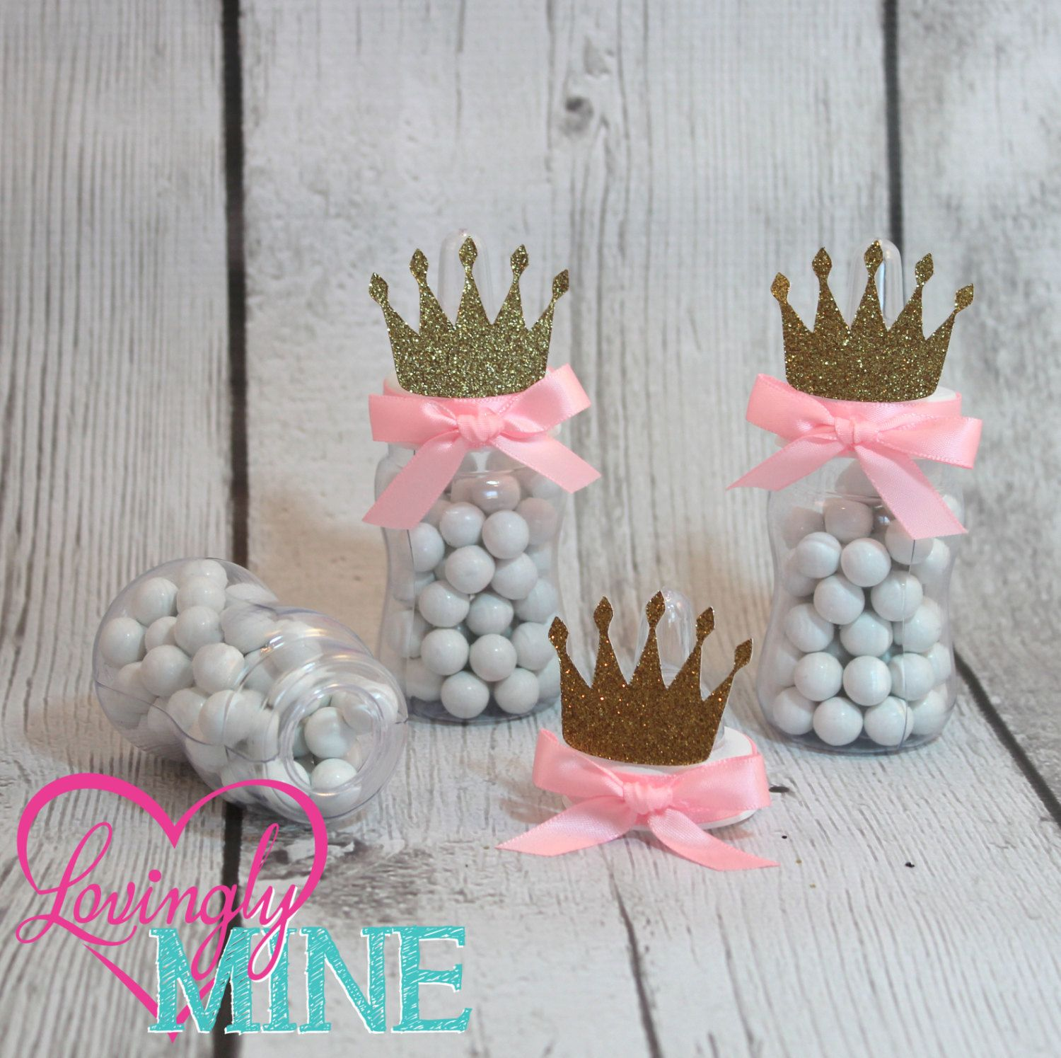 Little Princess Baby Bottle Favors in Baby Pink & Glitter Gold - Set of 12 - Baby Shower Thank You Gifts, Tiara, Crown by LovinglyMine on Etsy