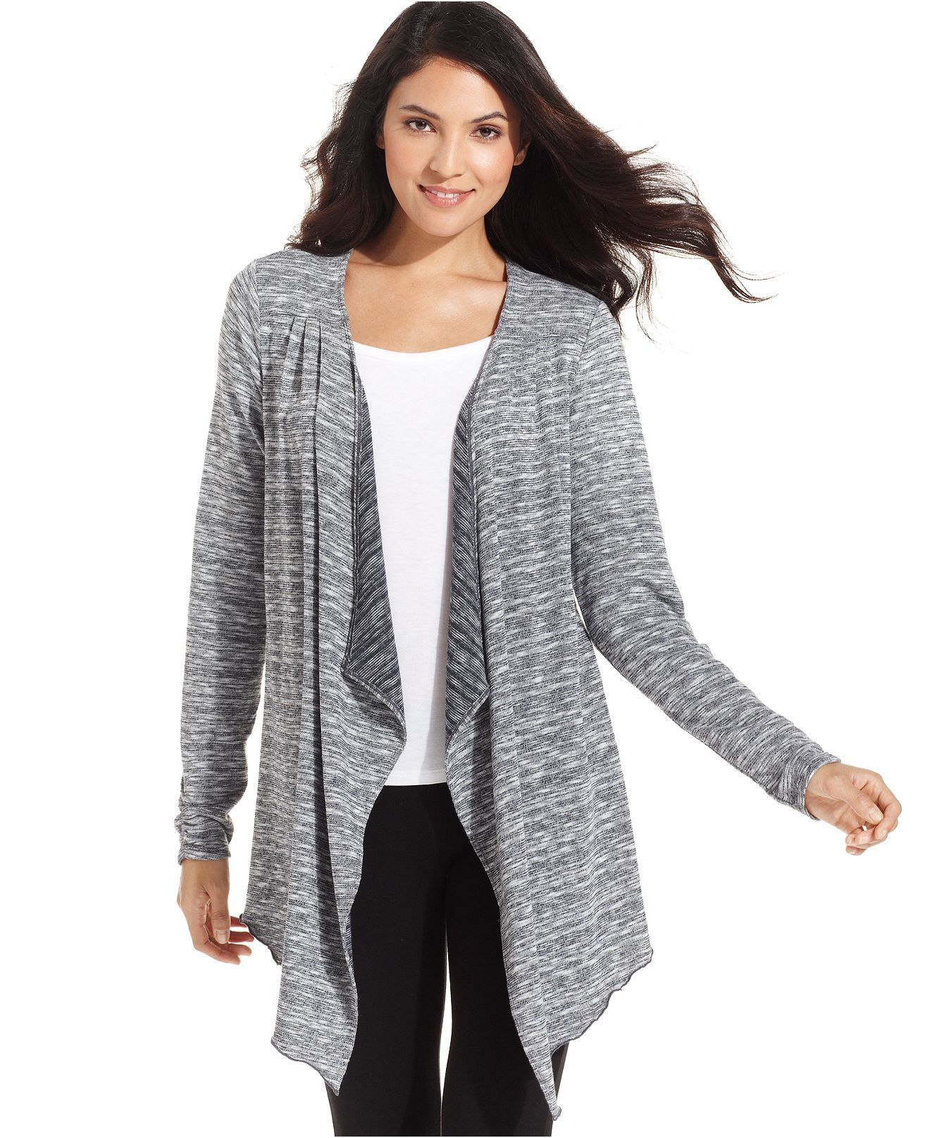 Ideology Sweater, Long-Sleeve Cascade-Collar Cardigan - Sweaters ...