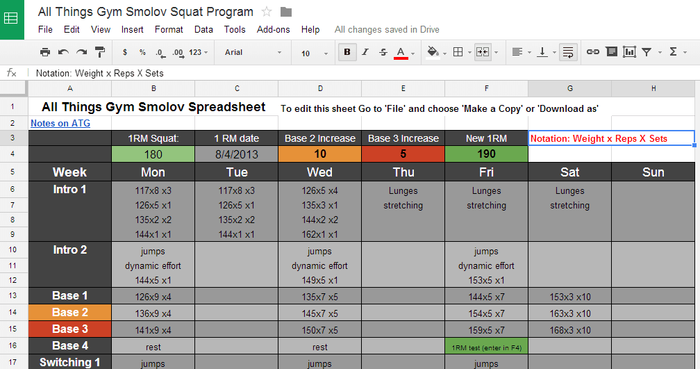 Smolov Squat Routine Spreadsheet Includes Smolov Jr Calculator