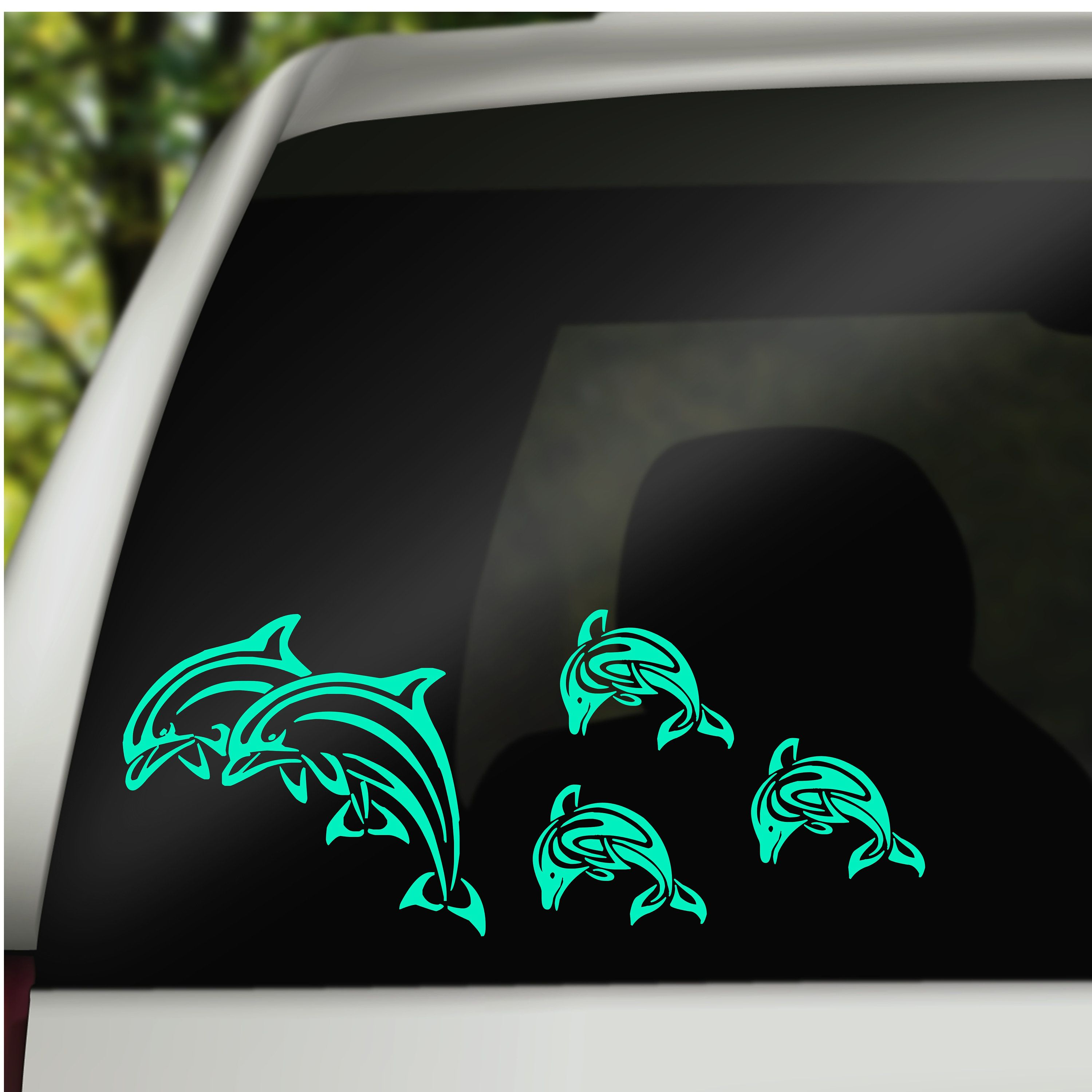 Dolphin Family Car Window Decal Car Family Stickers Car Accessories Bumper Stickers Win Car Sticker Design Family Car Stickers Personalized Car Accessories [ jpg ]