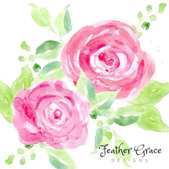 Pink Roses Watercolor Flowers Wedding Flowers Clip Art Wedding