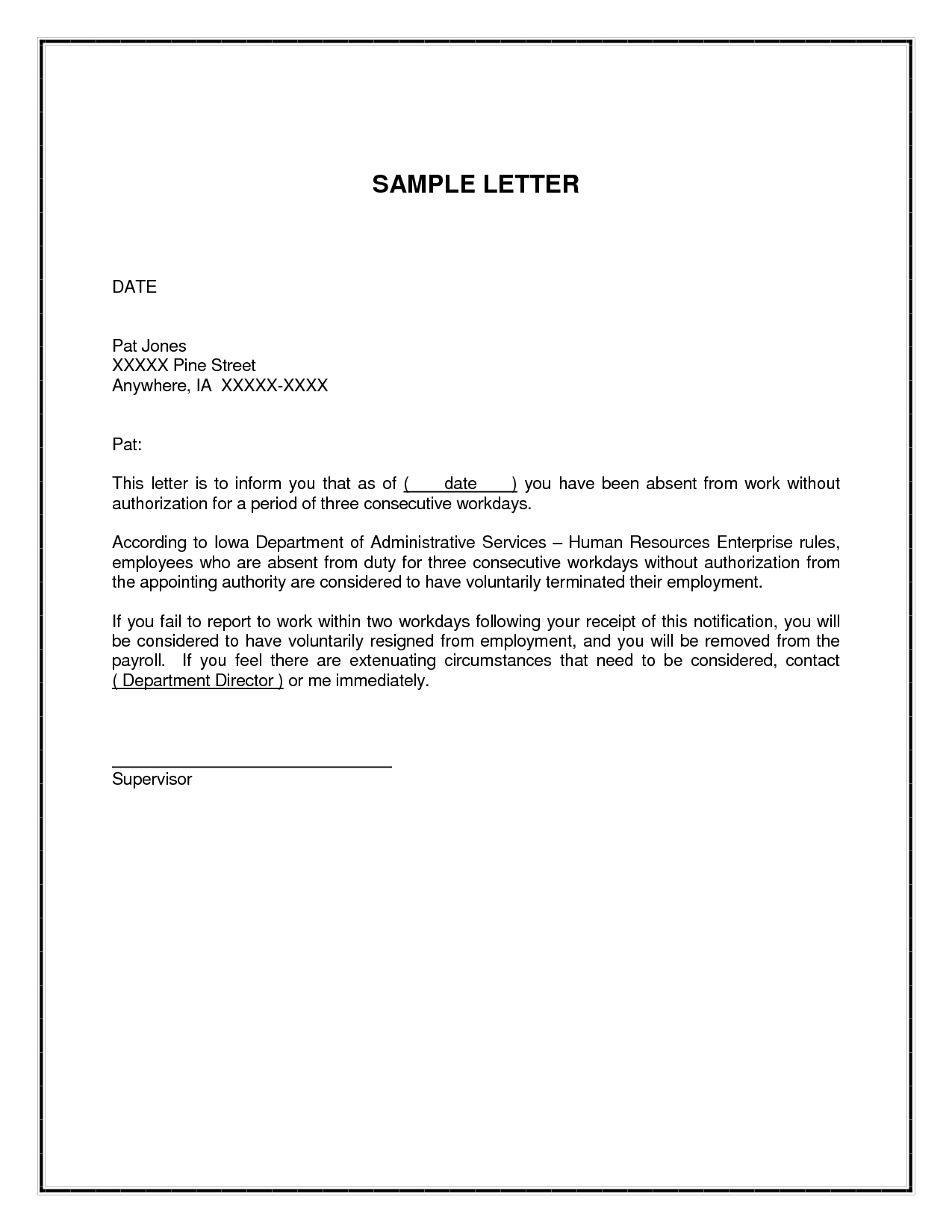 Unauthorized Absence Related Keywords And Suggestions Unauthorizedwarning Letter For Absent