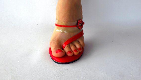 d2fdf11e8d38ca VIP 4 inch Handmade KISS Rhinestone Red   Clear Thin Single Strap Thong  Foot Fetish Mule