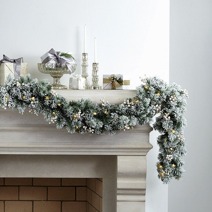 Banff Flocked Garland 120 Pine Branch Tips Studded W White Berries Pre Lit C 50 Sparkling Led Lights 6ft L 3aa Batteries