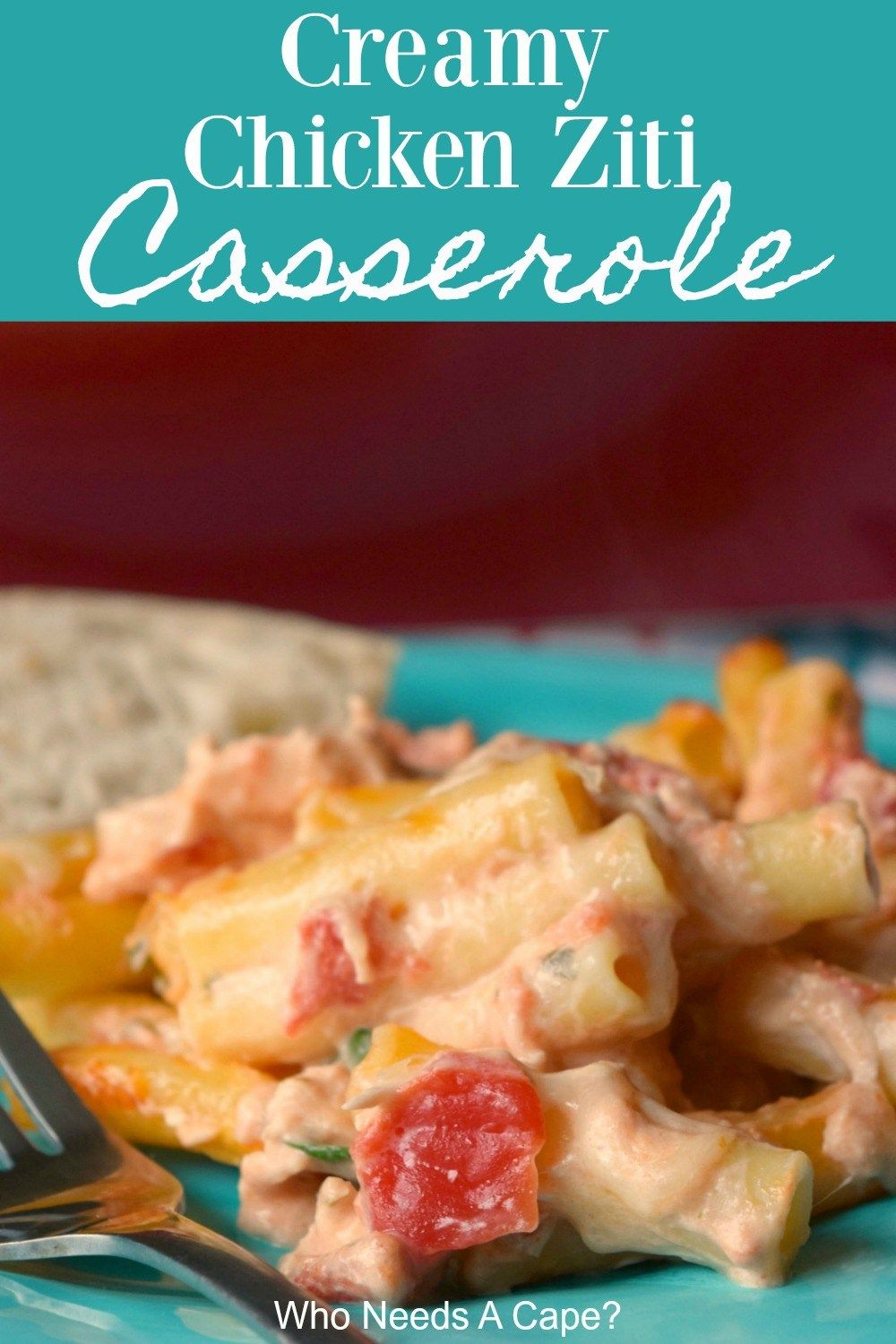 Bring Creamy Chicken Ziti Casserole to the dinner table, you'll get rave reviews. Loaded with diced tomatoes, spinach, and cheese, it is delish! #creamychickencasserole