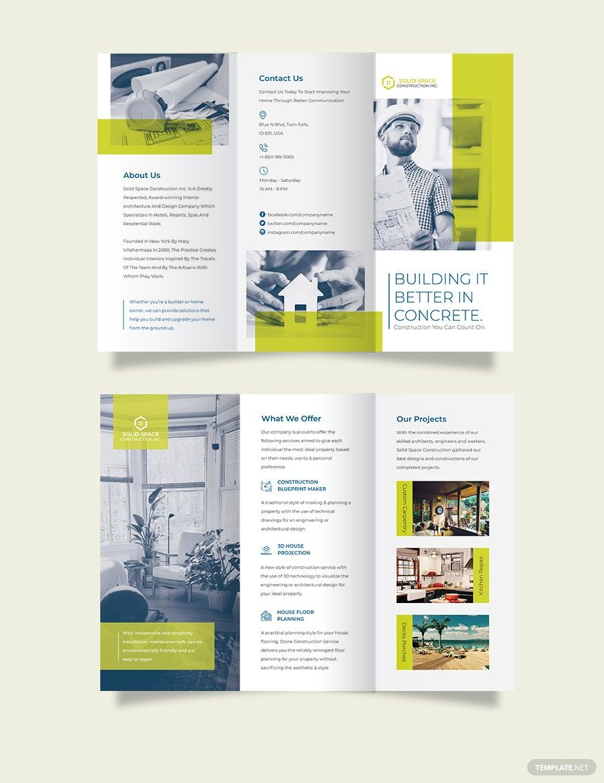 Modern Construction Tri Fold Brochure Template Word Doc Psd Indesign Apple Mac Pages Illustrator Publisher Trifold Brochure Trifold Brochure Template Trifold Brochure Design