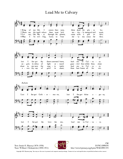 Lead Me to Calvary - Hymnary.org | Hymns | Pinterest