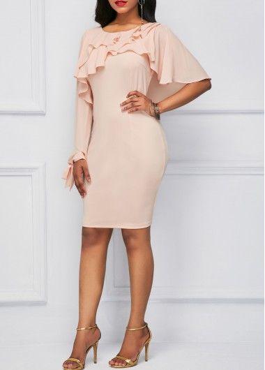 7845a89a541 Pink Bowknot Back Ruffle Overlay Sheath Dress