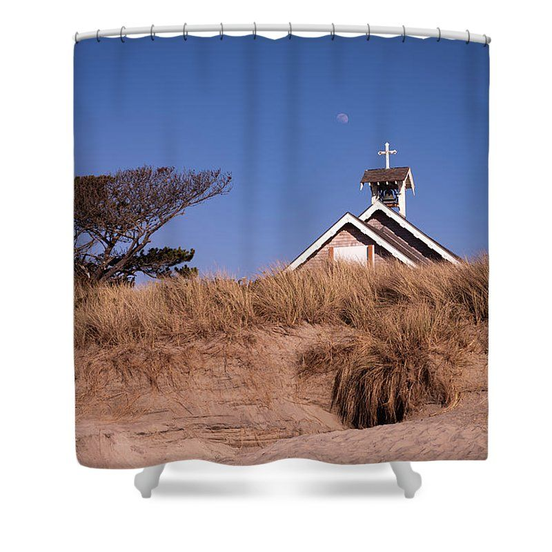 The Moon Rises Over The Steeple Of A Church That Is Partially Hidden In The Dunes Of Rockaway Beach Along The Beautifu Steeple Curtains For Sale Shower Curtain