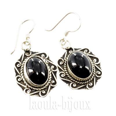 Boucles d'oreilles artisanales argent agate noir-  Bijoux ethnique L09 Laoula.