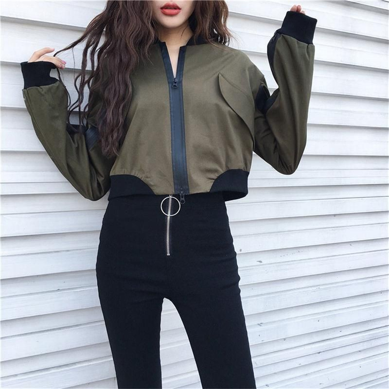 1f1692e41c3456 itGirl Shop ARMY GREEN BEIGE SATIN CROP RACER PATCHWORK ZIPPER JACKET Aesthetic  Apparel