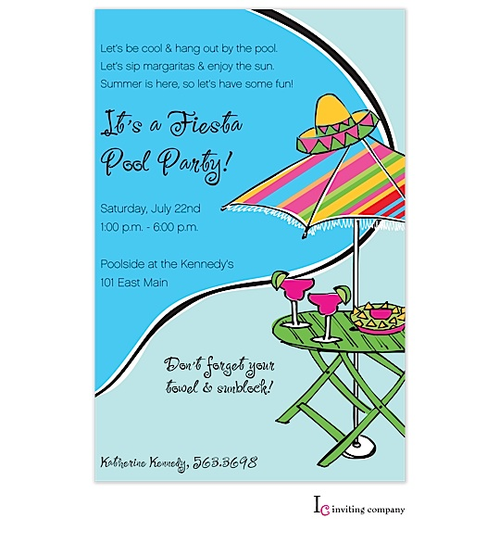 Pool Party Invitations Fiesta Side
